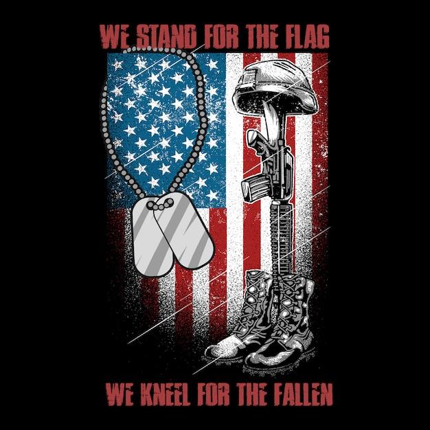 Amerika verenigde staten veteraan en machinepistool leger voor de vlag kniel voor de gevallen vector Premium Vector