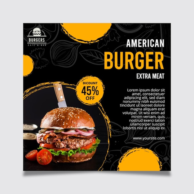 Amerikaans eten flyer-sjabloon Gratis Vector