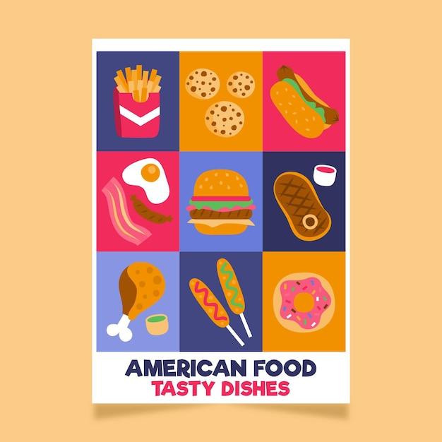 Amerikaans eten poster sjabloon Gratis Vector