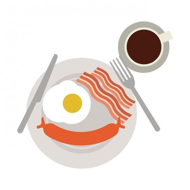 Amerikaans ontbijt op gerecht Premium Vector