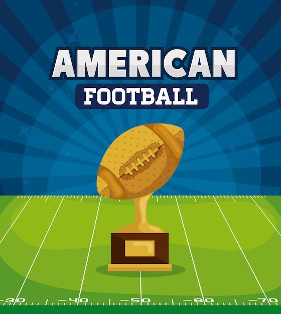 Amerikaans voetbal met trofee in veld afbeelding Premium Vector