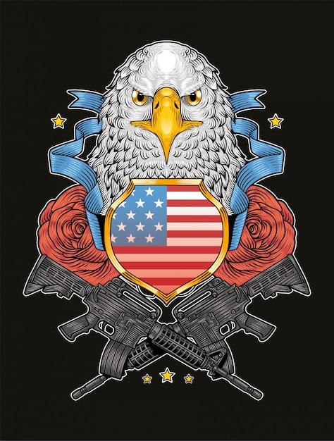Amerikaanse adelaar veteranen dag onafhankelijkheidsdag Premium Vector