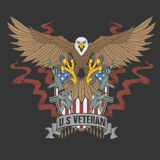 Amerikaanse adelaarsveteraan Premium Vector