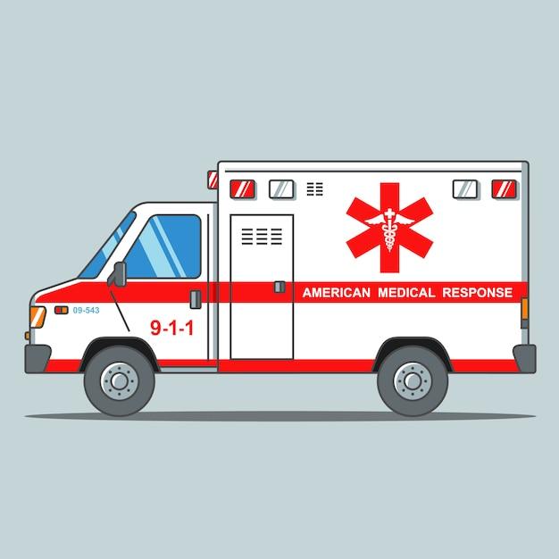 Amerikaanse ambulance op een grijze achtergrond Premium Vector