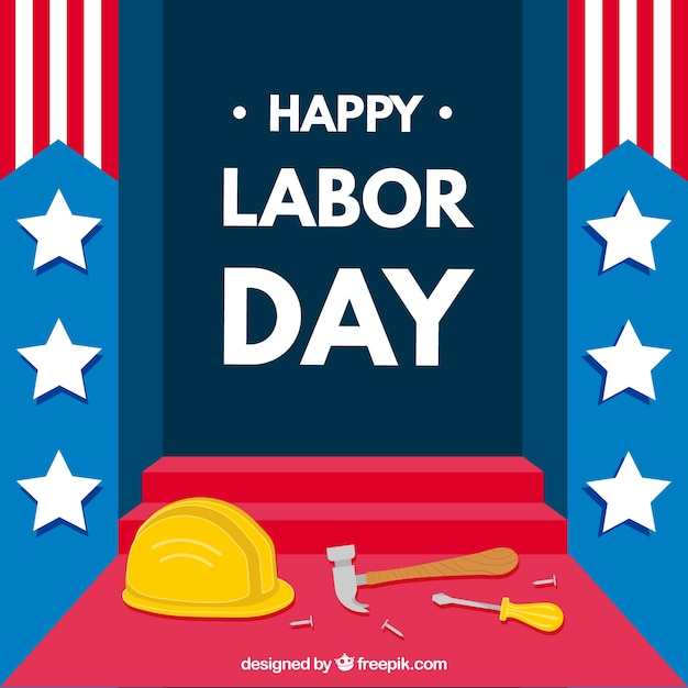 Amerikaanse arbeidsdag samenstelling met platte ontwerp Gratis Vector
