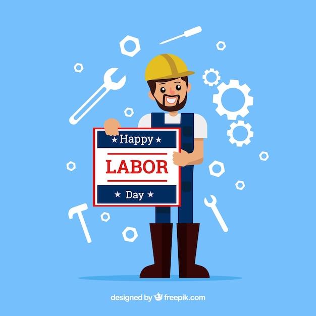 Amerikaanse arbeidsdagensamenstelling met vlak ontwerp Gratis Vector