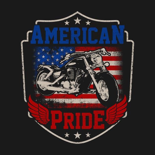 Amerikaanse biker pride met grunge-stijl Premium Vector
