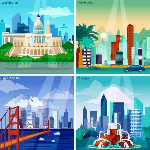 Amerikaanse cityscapes-kaartenset Gratis Vector