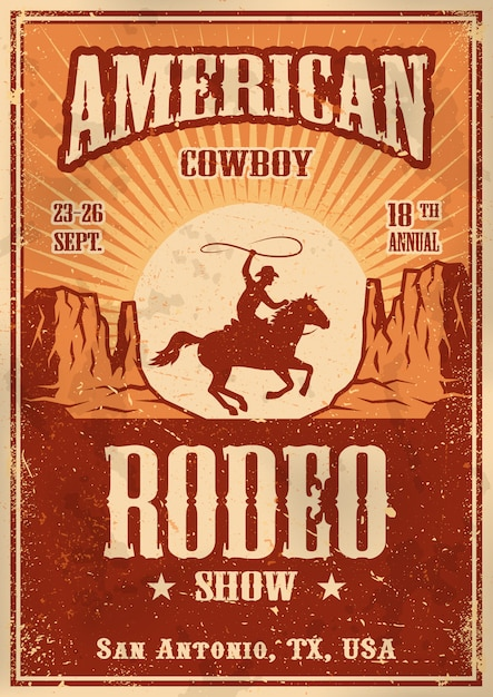 Amerikaanse cowboy rodeo poster met typografie en vintage papier textuur Gratis Vector
