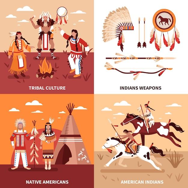 Amerikaanse indianen illustratie ontwerpconcept Gratis Vector