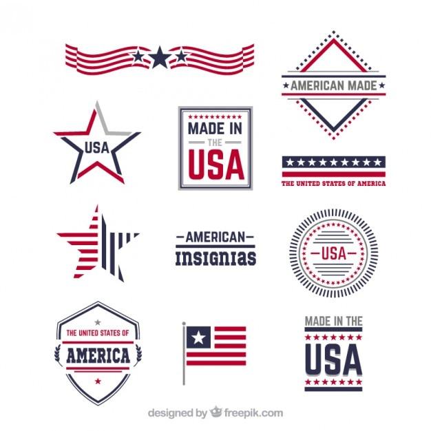 Amerikaanse insignes Premium Vector