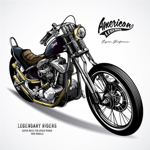 Amerikaanse legende motorfiets Premium Vector