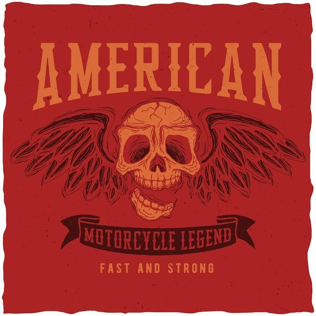 Amerikaanse motorfiets legende poster Gratis Vector