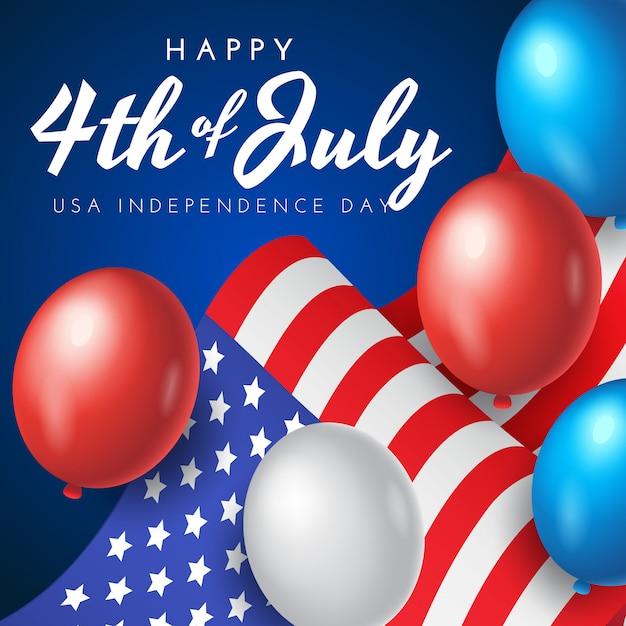 Amerikaanse onafhankelijkheidsdag banner, poster of wenskaart met nationale vlag en ballonnen op blauwe achtergrond, afbeelding Premium Vector