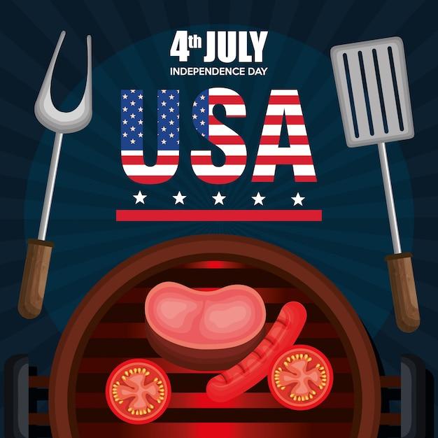 Amerikaanse onafhankelijkheidsdag barbeque party Gratis Vector