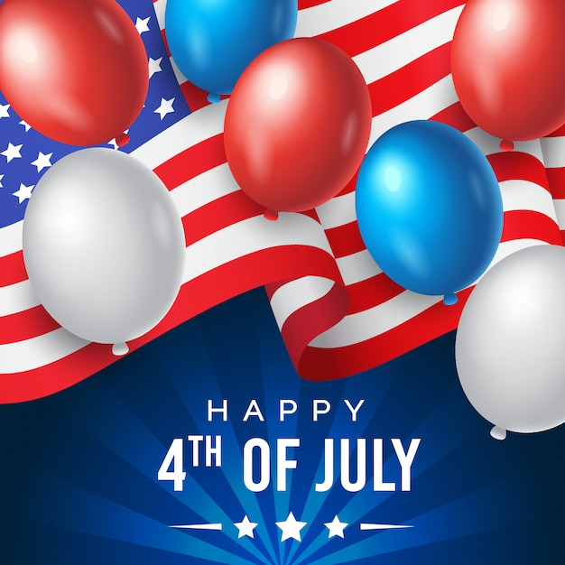 Amerikaanse onafhankelijkheidsdag met nationale vlag en ballonnen op blauwe achtergrond Premium Vector