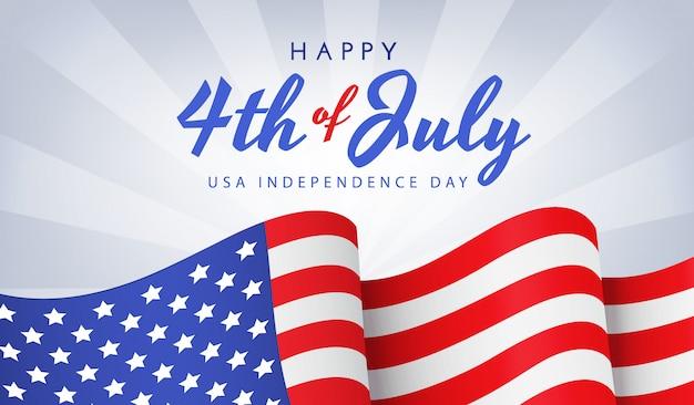 Amerikaanse onafhankelijkheidsdag met nationale vlag op blauwe achtergrond Premium Vector