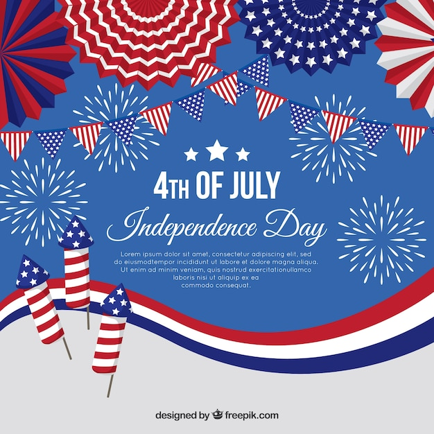 Amerikaanse onafhankelijkheidsdag met vuurwerk Gratis Vector