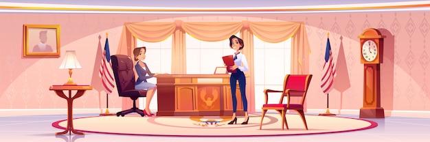 Amerikaanse president en secretaresse in ovale kantoorbanner Gratis Vector