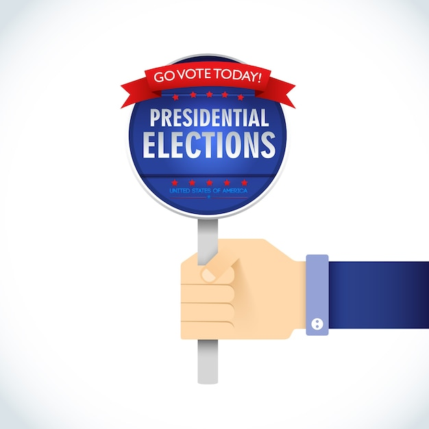 Amerikaanse presidentsverkiezingen flat uithangbord Gratis Vector