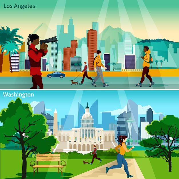 Amerikaanse stadsbeelden illustratie set Gratis Vector