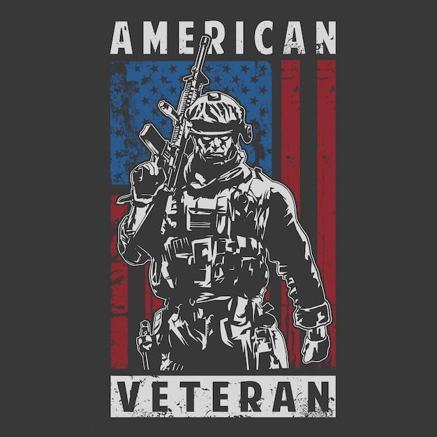 Amerikaanse veteraan leger illustratie Premium Vector