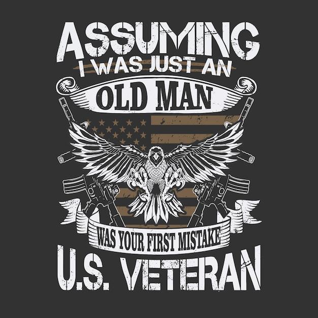 Amerikaanse veteraan oldman illustratie Premium Vector