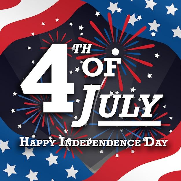 Amerikaanse vierde van juli-groeten kaartpost met vuurwerk Premium Vector