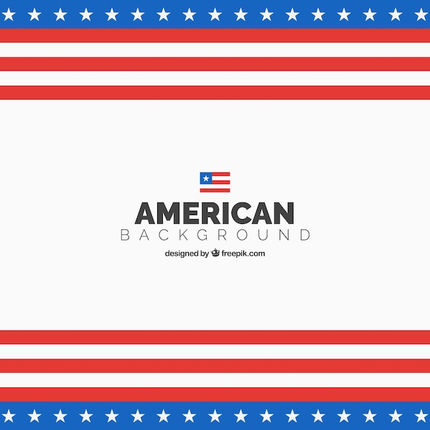 Amerikaanse vlag achtergrond in plat design Gratis Vector