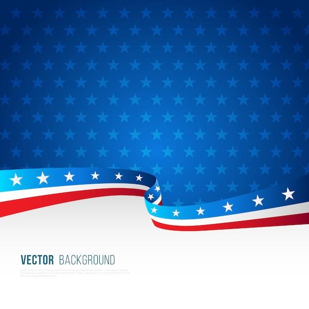 Amerikaanse vlag achtergrond met decoratieve golvende vorm Gratis Vector
