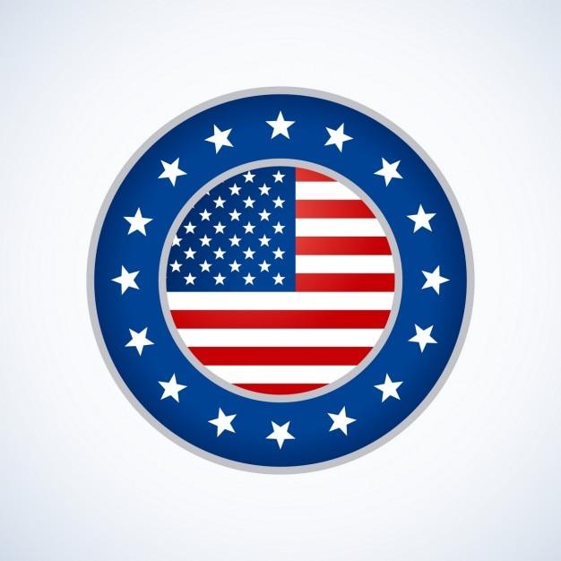 Amerikaanse vlag badge ontwerpen Gratis Vector