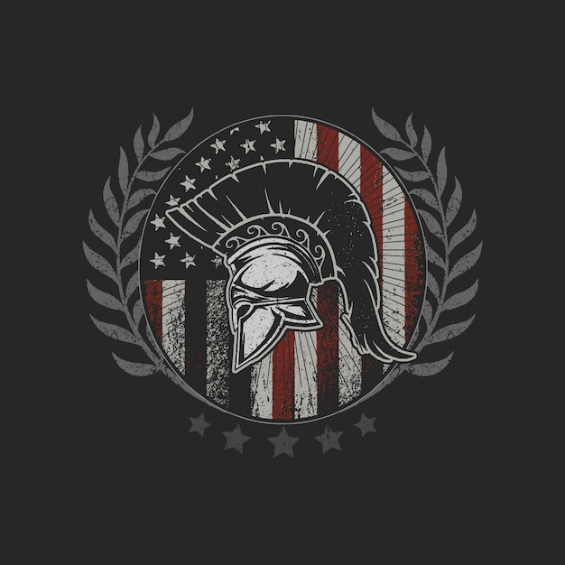 Amerikaanse vlag grunge sparta helm embleem symbool dappere vechter Premium Vector