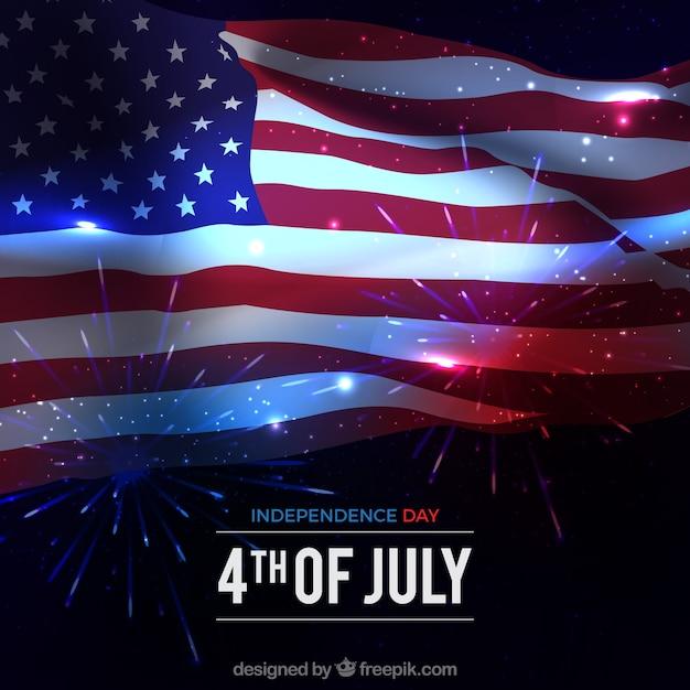 Amerikaanse vlag met glanzende stijl Gratis Vector