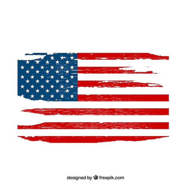 Amerikaanse vlag met grungestijl Premium Vector