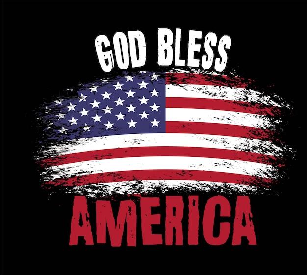 Amerikaanse vlag op zwart Premium Vector