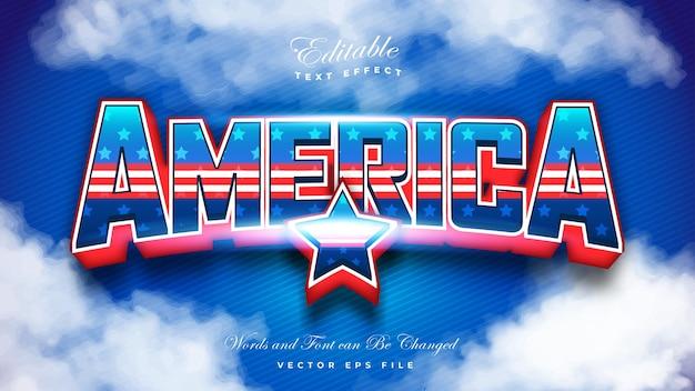 Amerikaanse vlag teksteffect Premium Vector