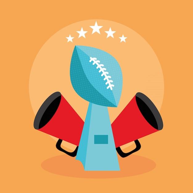 Amerikaanse voetbal sport poster met trofee ballon illustratie Premium Vector