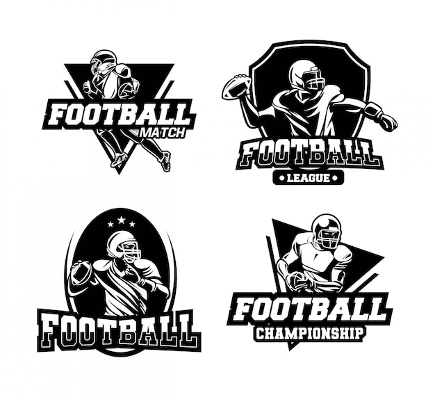 Amerikaanse voetbalcompetitie badge of embleem in zwart en wit Premium Vector