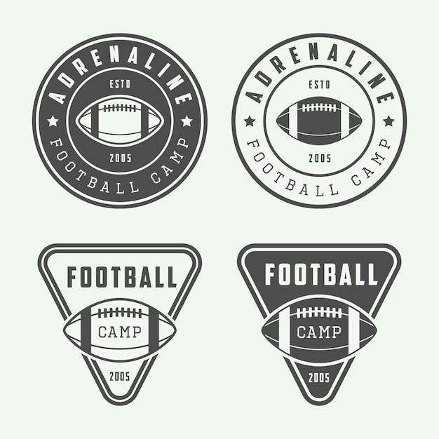 Amerikaanse voetbalemblemen of badges Premium Vector