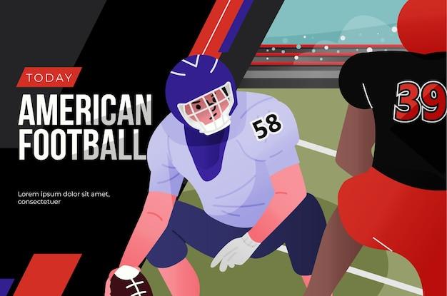 Amerikaanse voetballers en voetbalveld Gratis Vector