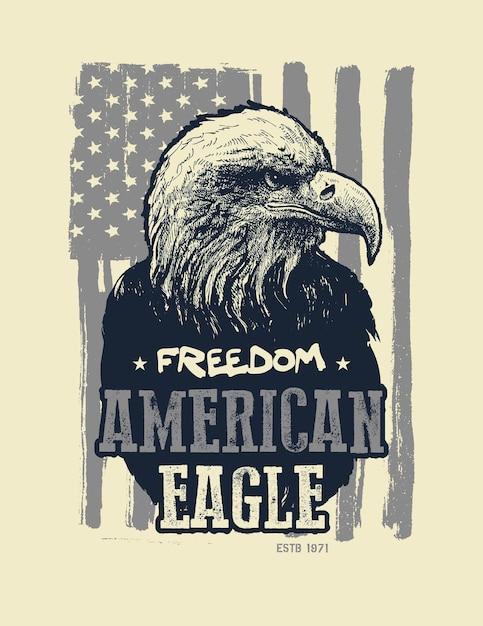 Amerikaanse zeearend. t-shirt bedrukken. Premium Vector