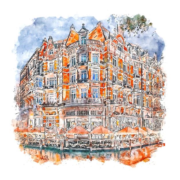 Amsterdam nederland aquarel schets hand getrokken illustratie Premium Vector