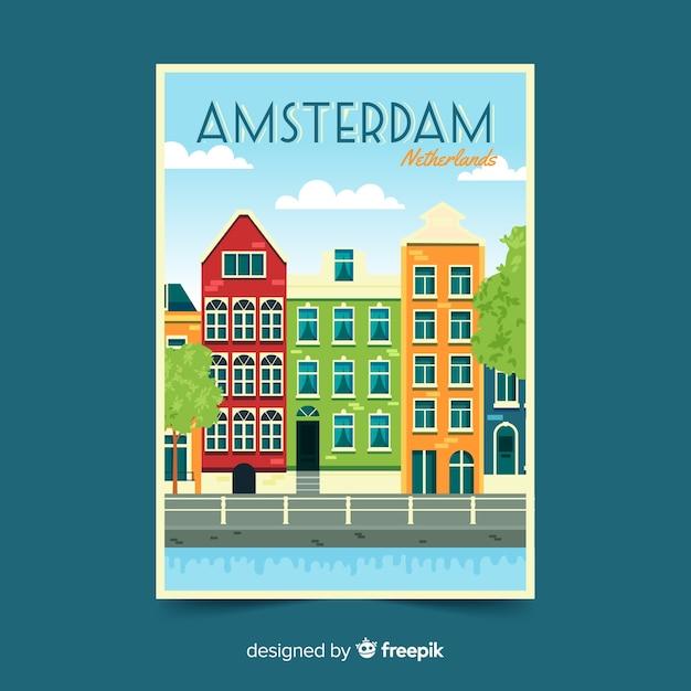 Amsterdam retro promotionele flyer Gratis Vector