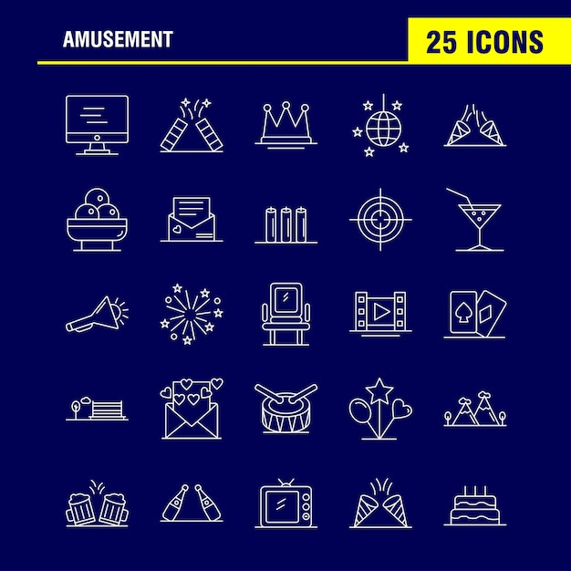 Amusement line icon voor web, print en mobile ux / ui kit Gratis Vector
