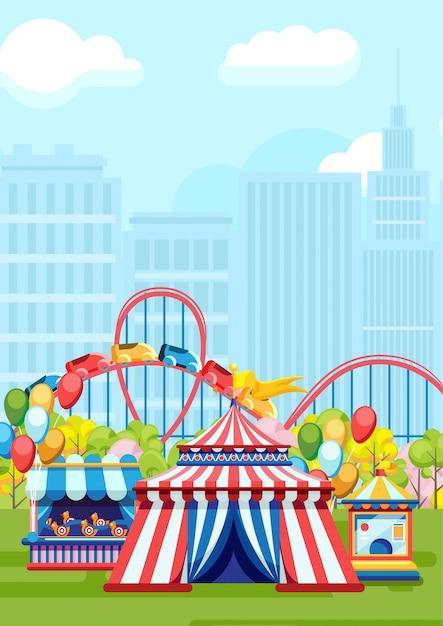 Amusementstochten in stadspark Premium Vector