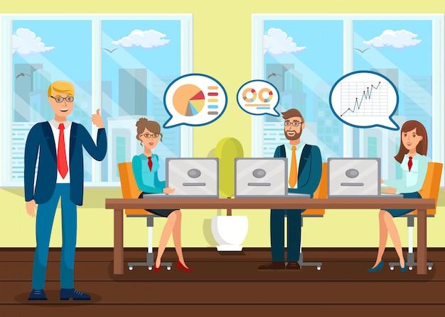 Analisten bij zakelijke conferentie vlakke illustratie Premium Vector