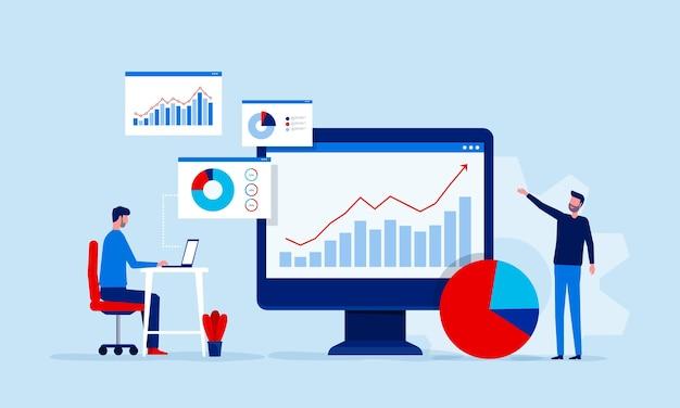 Analyse en monitoring van het team van mensen op het dashboard van het webrapport Premium Vector