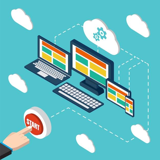 Analyse en programmeervector. web applicatie optimalisatie. responsieve pc. cloud technologie Premium Vector