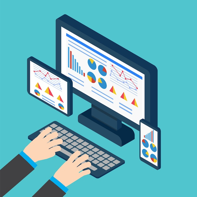 Analyse en programmeervector. web applicatie optimalisatie. responsieve pc Premium Vector