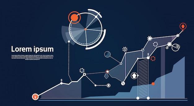 Analyse financiën grafiek financiële bedrijfsgrafiek Premium Vector